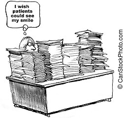 Lots of Paperwork - Cartoon of doctor with lots of...