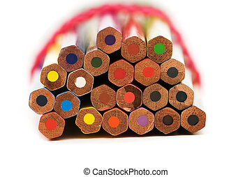 Lots of pencils isolated on the white background