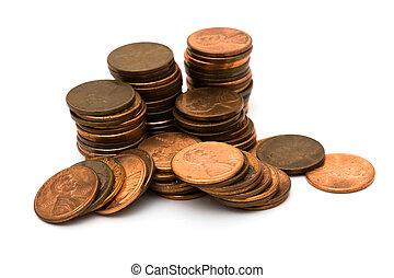 Lots of pennies - A lot of pennies isolated on a white...