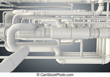 Lots of piping at the plant 3d rendering