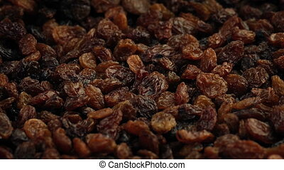 Lots Of Raisins Rotating - Pile of raisins turning slowly