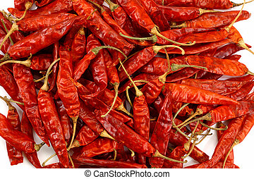 Lots of red dry chilies