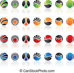 round icons - lots of round icons isolated on white, vector...