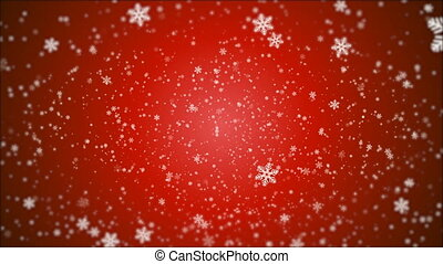 lots of snowflakes on a winter red background