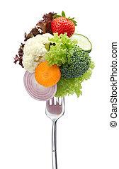 lots of vegetables on fork