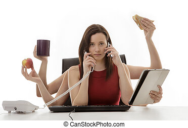 lot's to do - busy business woman multitasking in the office...