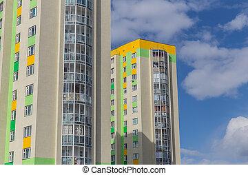 Lots windows of modern apartment skyscraper house