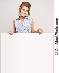 lott, över, tom, copyspace, sekreterare, attraktiv, bord, vit