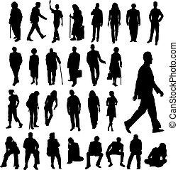 lott, av, folk, silhouettes