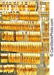 lott, av, guld smycken