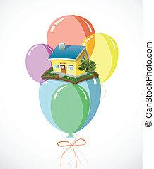 lott, hus, vektor, balloons., färgrik