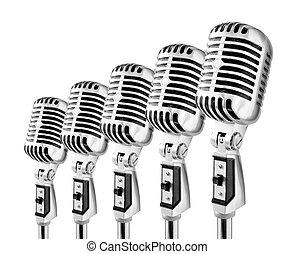 Lotta Mics - Row Of Retro Microphones Against White...