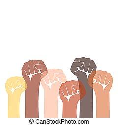 lotta, pugno, braccio, protesta, tuo, caption., dimostrazione, elevato, diritti, rivoluzione