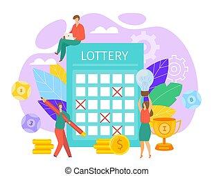 lotteri, eller, heldige, begreb, illustration., billet, andespillet, pencil., lotto, ticket., arven, ydre, mærke, vektor, luck, sejre, fyld, folk