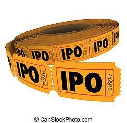 lotteria, offerta, affari, ditta, iniziale, ipo, pubblico, biglietto, rotolo