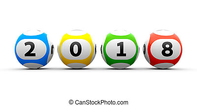 Lottery balls 2018 - Lottery balls on a white table...