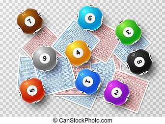 Lottery balls and bingo lucky tickets isolated on transparent background. Sports gambling vector concept