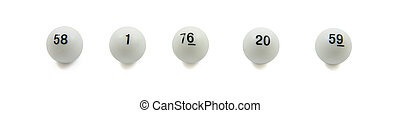 Lottery balls in a row isolated over white