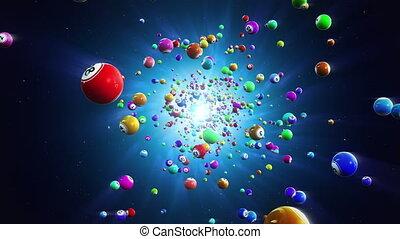 Flight colored bingo balls