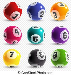 Lottery balls. Lotto game balls with numbers, bingo lucky ...