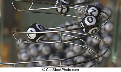Lottery balls make up 2021 number. 3D animation - Lotto...