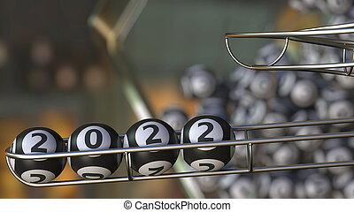 Lottery balls make up 2022. 3D rendering