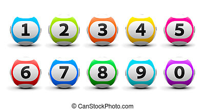Lottery balls set - Color lottery balls set isolated on...
