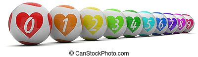 lottery balls with love shaped colors. isolated on white.