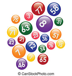 Coloured lottery balls with numbers on the white background.