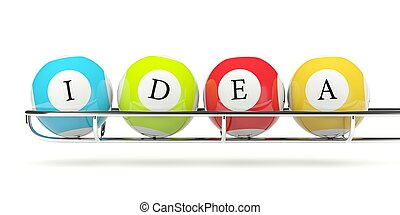 Lottery balls with word IDEA isolated on white