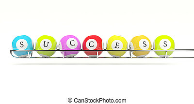 Lottery balls with word success on them