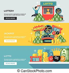 Lottery Banner Set - Lottery horizontal banner set with...