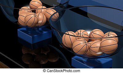 Lottery baskets with basketball balls closeup