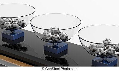 Lottery baskets with soccer balls closeup isolated on white