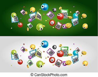 Lottery bingo tickets balls falling dawn. Lottery banners poster design template