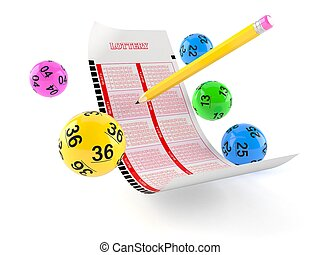 Lottery blank ticket with lotto balls on white background