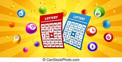 Lottery colored number balls and tickets. Background for...