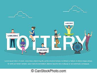 Lottery concept set with winning combinations flat design