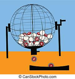 Lottery draw - Cartoon illustration of a lottery draw globe