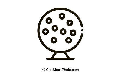 Lottery Drum Icon Animation. black Lottery Drum animated icon on white background