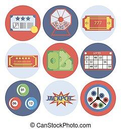 Lottery flat icons set