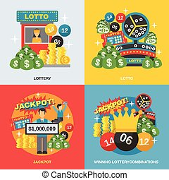Lottery Flat Set - Lottery design concept set with winning...