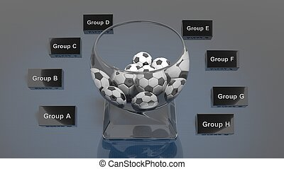 Lottery glass bowl with soccer balls