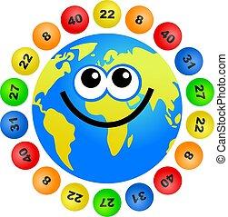 lottery globe - cartoon world globe surrounded by lottery...