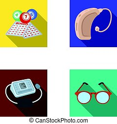 Lottery, hearing aid, tonometer, glasses. Old age set collection icons in flat style vector symbol stock illustration web.