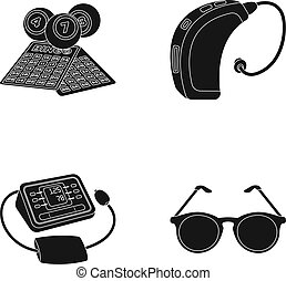 Lottery, hearing aid, tonometer, glasses.Old age set collection icons in black style vector symbol stock illustration web.