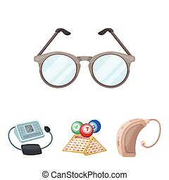 Lottery, hearing aid, tonometer, glasses.Old age set collection icons in cartoon style vector symbol stock illustration web.
