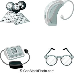 Lottery, hearing aid, tonometer, glasses.Old age set collection icons in monochrome style vector symbol stock illustration web.