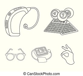 Lottery, hearing aid, tonometer, glasses.Old age set collection icons in outline style vector symbol stock illustration web.