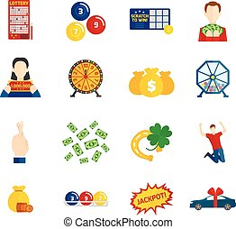 Lottery Icon Flat Set